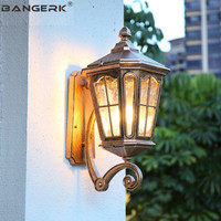 European Outdoor Sconce Wall Lights Vintage IP65 Waterproof Antirust LED Wall lamp Garden Porch Aisle Glass Aluminum Lighting