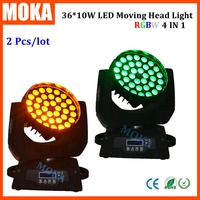 2pcs Lot New Pro 36x10W RGBW 4in1 LED Zoom Moving Head Washer Stage Lighting Led Moving