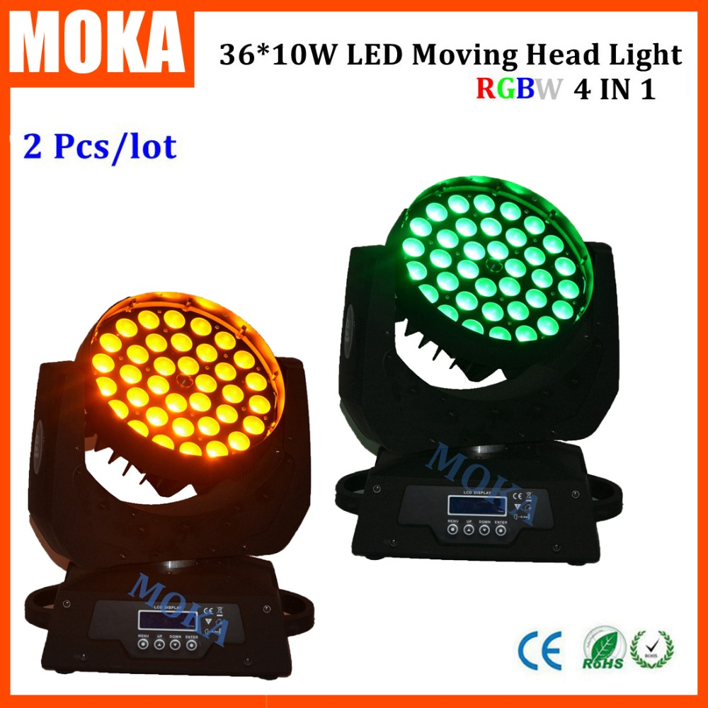 2pcs/lot New Pro 36x10W RGBW 4in1 LED Zoom Moving Head Washer Stage Lighting led moving head light уровень rgk ul 443p