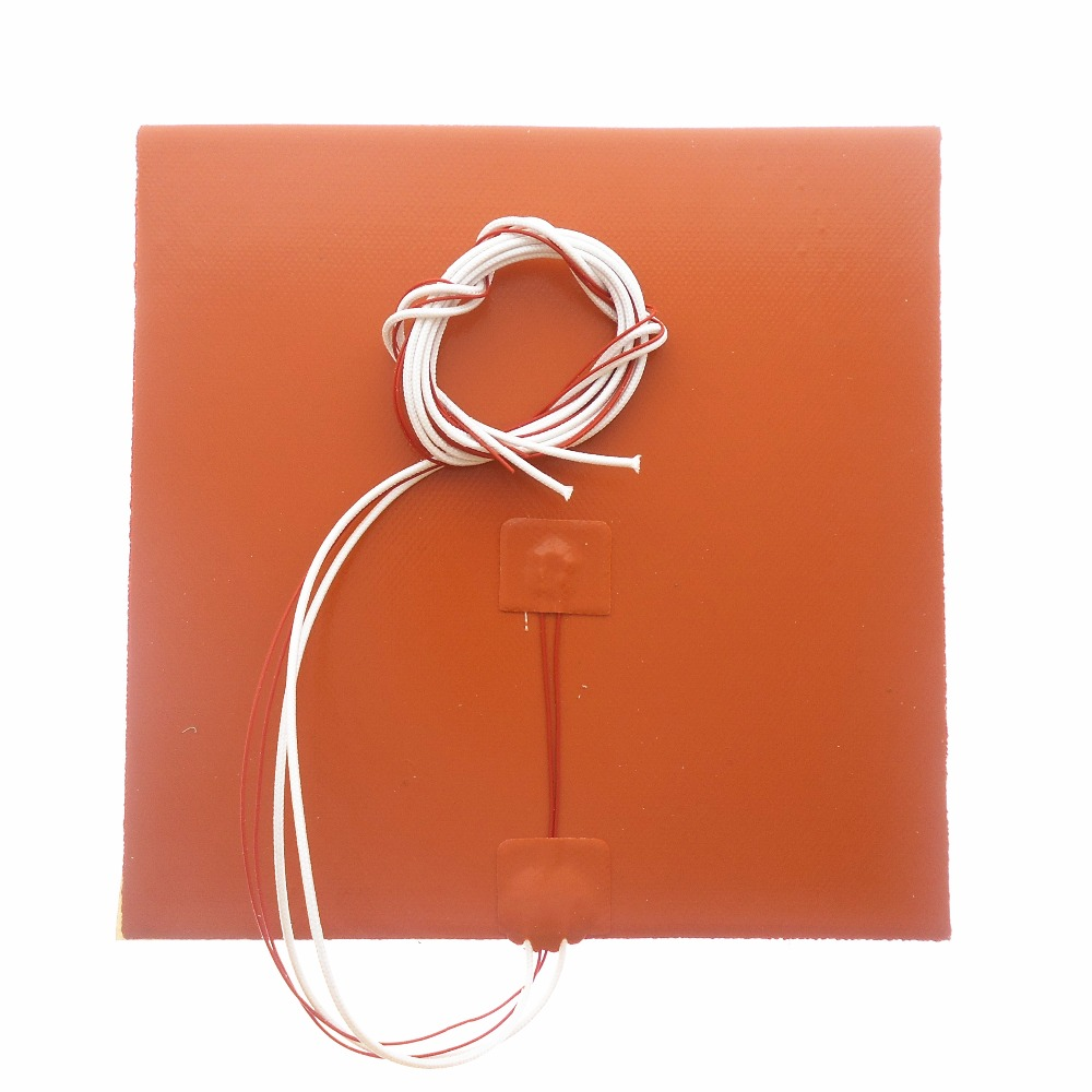DuoWeiSi 3D Printer parts 25x25CM <font><b>Heatbed</b></font> 12/24/110/120/220V 200/300/400/500W Thermostor Silicone Heater Pad 250*250mm heat bed image