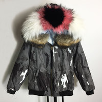 2018 Fashion Camouflage Gray Bomber Jacket with Big Size real fur Collar blue Liner Bombers Womens