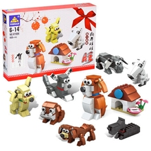 408Pcs Kids Toys Year of the Dog Lovely 8 Styles Designs Blocks Bricks Educational Children Gift Christmas LeiNGly