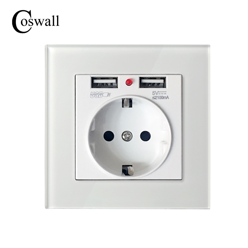 Coswall Marke 16A EU Russland Standard Wand Steckdose Weiß Kristall Glas Panel Outlet 2.1A Dual USB Ladegerät Port für mobile