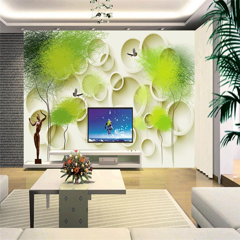Custom 3D Wallpaper Murals Circle Abstract Tree Bird Photo Wall Paper 3D Stereoscopic Wallpapers For Living Room Contact Papers custom 3d photo wallpaper coconut tree murals for living room lobby decoration wall paper murals
