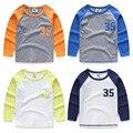 Menino da criança da longo-luva T-shirt 2017 primavera e no outono 100% do bebê do algodão roupas meninos cor patchwork casual tee, zc