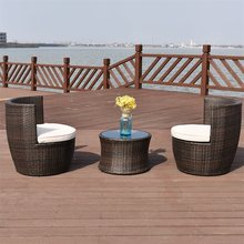 3 Pcs Patio Rattan Stackable Furniture Set High Quality Modern Stackable Outdoor Garden Furniture Set Tables and Chairs HW58806+(China)