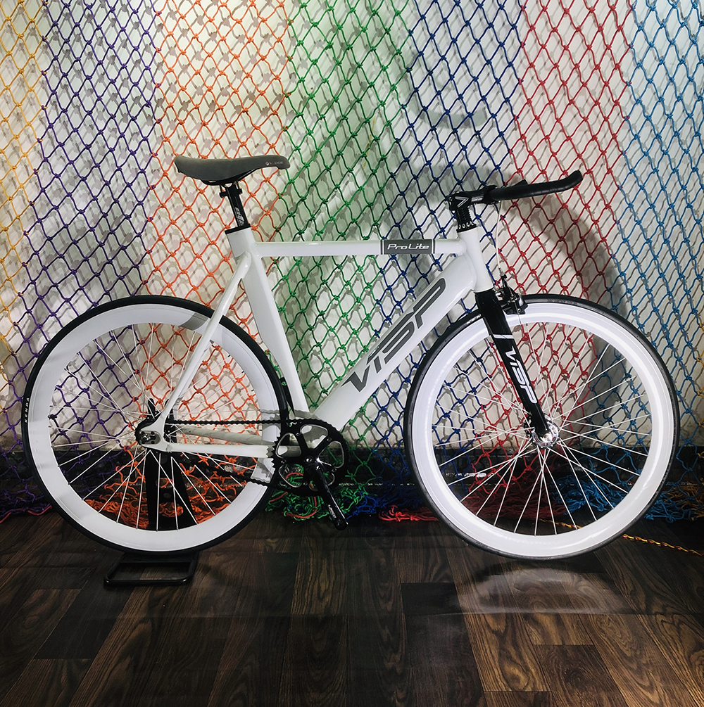Fixie Bike 58cm Frame Single Speed Bike  Welding Frame White Color Aluminum Alloy Customize Track Bicycle 700C Wheel