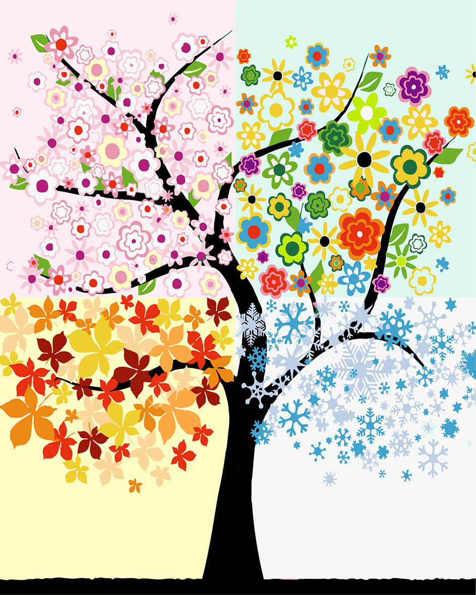 ୧ʕ ʔ୨Colorido árbol pintura por números moderno DIY Paisaje ...