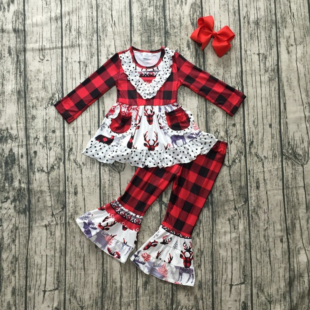 все цены на baby girls winter OUTFITS girls MOOSE print dress top wtih plaid long ruffle pants outfits sets girls Christmas clothes with bow
