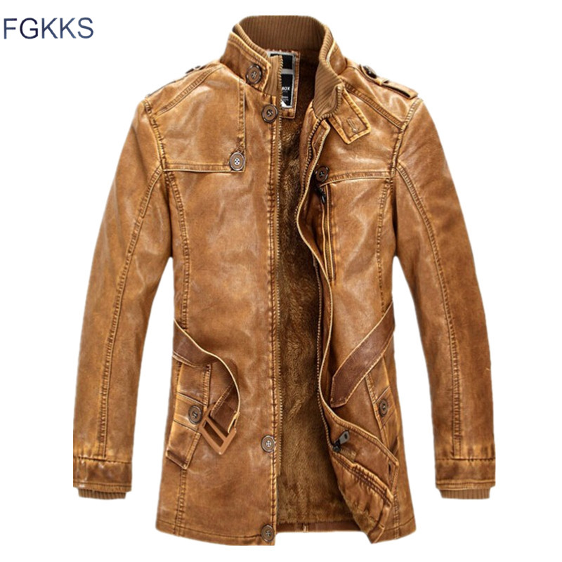 FGKKS 2018 New Winter Men Leather Jacket Fashion Brand Quality Fleece Lined Motorcycle Outerwear Faux Leather Coats Male