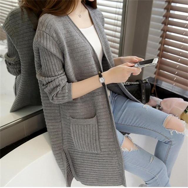 Envío Libre Nuevo Producto de AliExpress salvaje larga de punto cardigan sweater otoño simple color caramelo ocasional rebeca de la manera