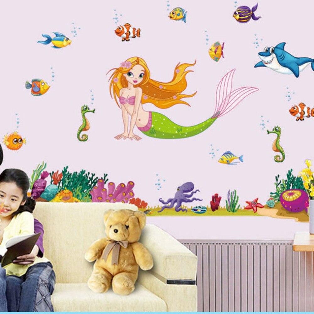 971477117 الكرتون حورية البحر الأسماك ملصقات الحائط ديكور المنزل الحمام المشارك  خلفيات للإزالة ملصق الحضانة kdis الفتيات غرفة الفن x013