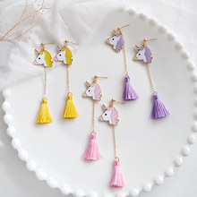 Miage Cute Sweet Cartoon Enamel Unicorn Horse Tassel Pendant Stud Earrings Women Fashion Candy Jewelry Accessories Wholesale(China)