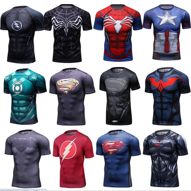 3D Marvel Superhero Tee Capatin America Superman Batman Compression T-Shirt Stretch Black  Superhero Fitness Tee Shirts