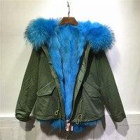Gökyüzü mavi tilki kürk ceket kış kalın sıcak kürk İç ceket kadın ceket 2017