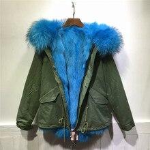 Sky blue fox fur coat winter thick warm fur inside jacket women jacket 2017
