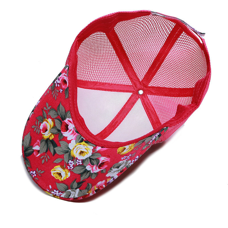 b4009b22623 Summer Mesh Trucker Hat Women Floral Baseball Cap Snapback Printed Sun Hats  Hip Hop Girls Hat Fashion Cotton Outdoor Sports Caps-in Baseball Caps from  ...