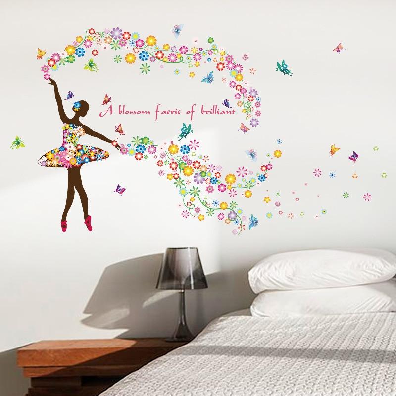 Flower Fairy Dancing Girl Wall Sticker Dance Classroom