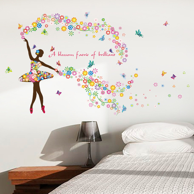 Flower Fairy Dancing Girl Wall Sticker Dance Classroom Background Window Wall  Decals Kids Rooms Decoration Butterfly