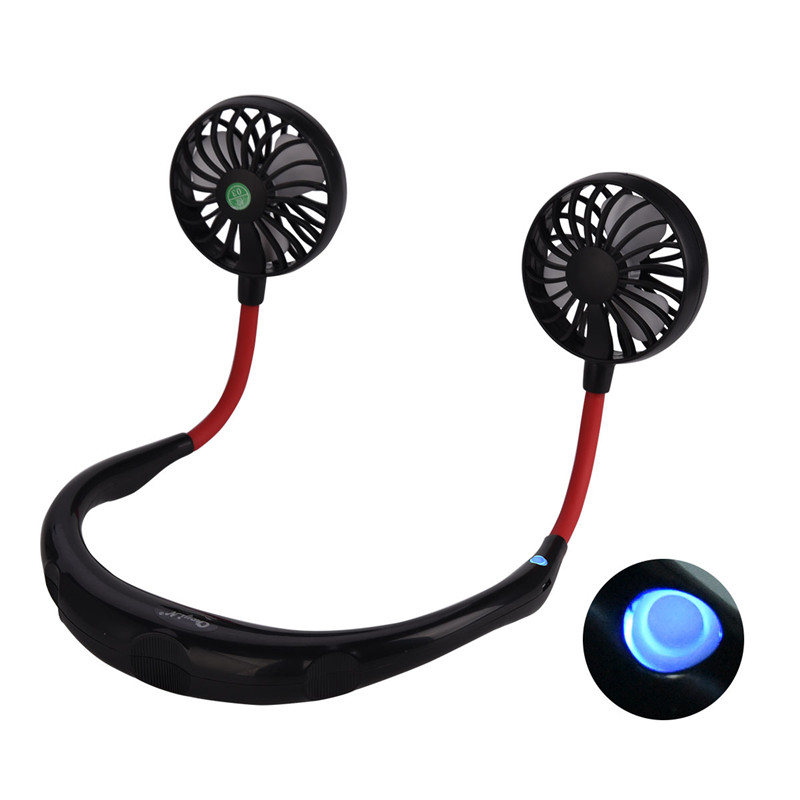 usb rechargeable hanging neck fans with 3 speeds portable mini fans for home and office