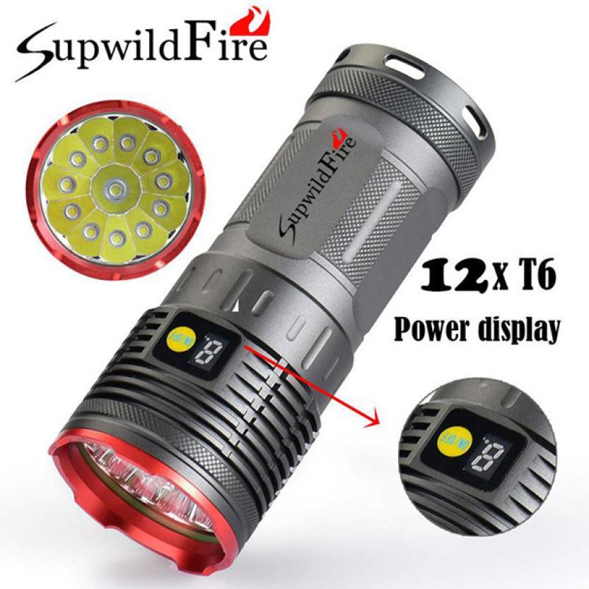 35000LM 12 x XM-L T6 alimentation LED affichage numérique en plein air en cours d'exécution chasse Flashligt nuit sécurité vélo lumière pour d'urgence P30