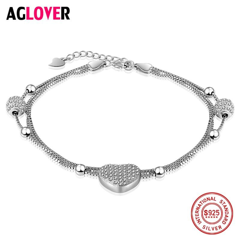 AGLOVER 100% Sterling Silver Women Charm Bracelet Fashion Heart Luxury 925 Brand Female Jewelry