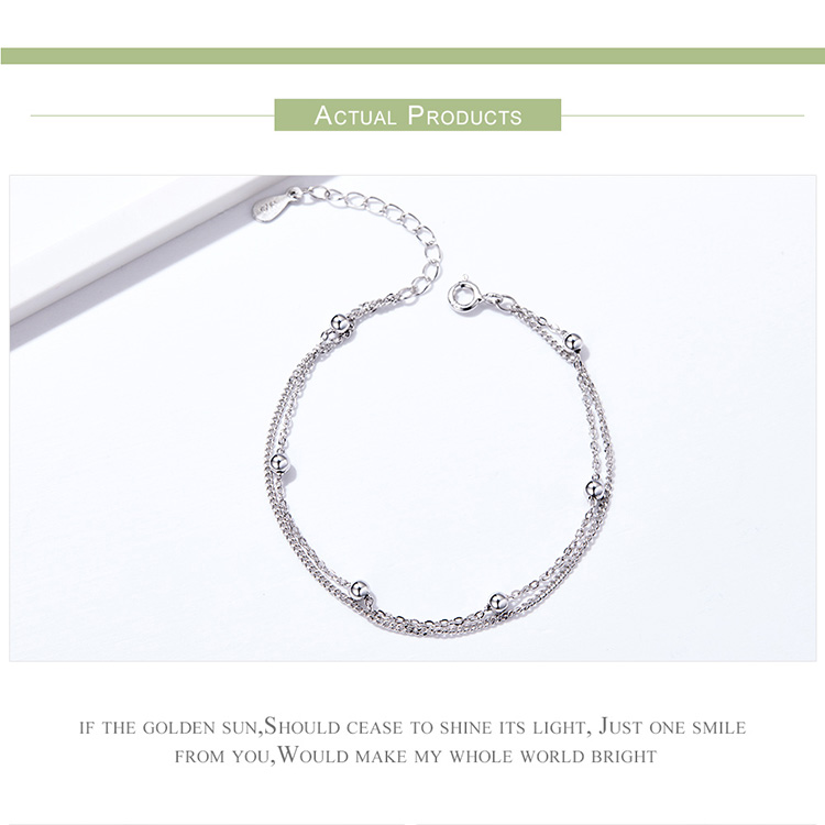 HTB1tWkFQhTpK1RjSZR0q6zEwXXaX BAMOER 925 Silver Chain Bracelet Women Round Beads Double Layers Link Chain Bracelets Female Sterling Silver Jewelry 2019 SCB131