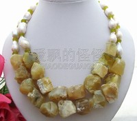 N060505 18mm bead Nucleated Pearl&Yellow Opal Necklace