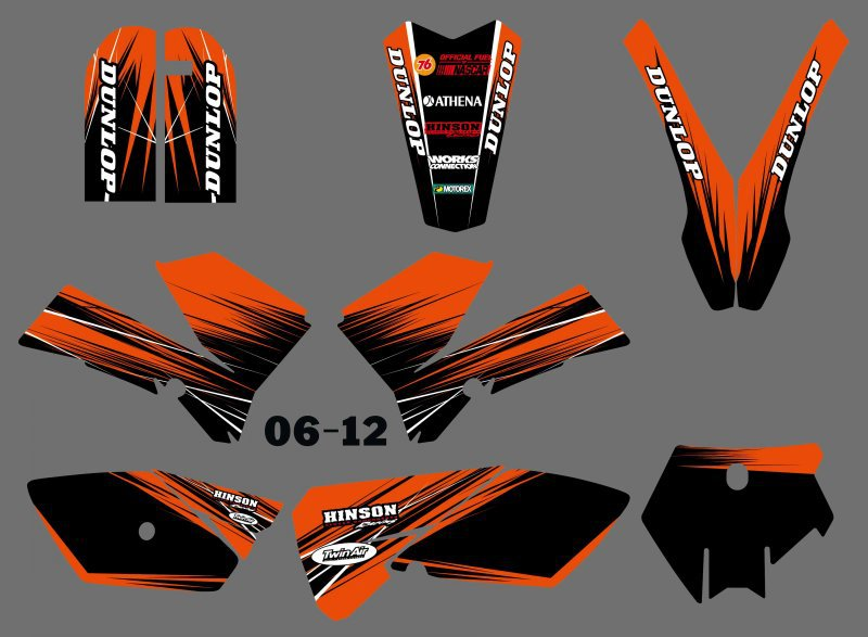 New  (0556Orange&Black ) TEAM GRAPHICS&BACKGROUNDS DECALS STICKERS Kits Fit For KTM SX 85 2006 2007 2008 2009 2010 2011 2012