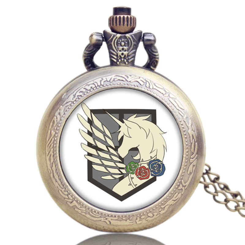 Retro Quartz Pocket Watch Attack on Titan Three Corps Flag Vintage Glass Dome Perfect Length of Necklace Pendant for Man Woman
