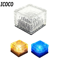 ICOCO Eco Friendly Waterproof IP65 Solar Powered LED Rock Light Cube Brick Design Garden Lawn Balcony