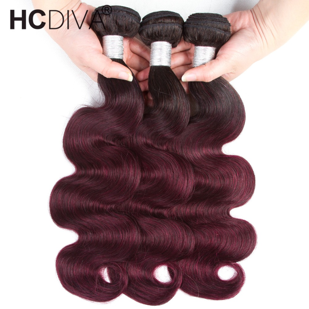 Pre-colored Brazilian Body Wave Ombre Human Hair Weave 3 Bundles Deals 1b 99j Burgundy Red Remy Ombre Hair Extension HCDIVA