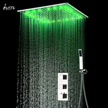 Concealed thermostatic shower set SUS304 mirror finished panel with 20embedded ceiling LED head rainfall mist SPA  hm