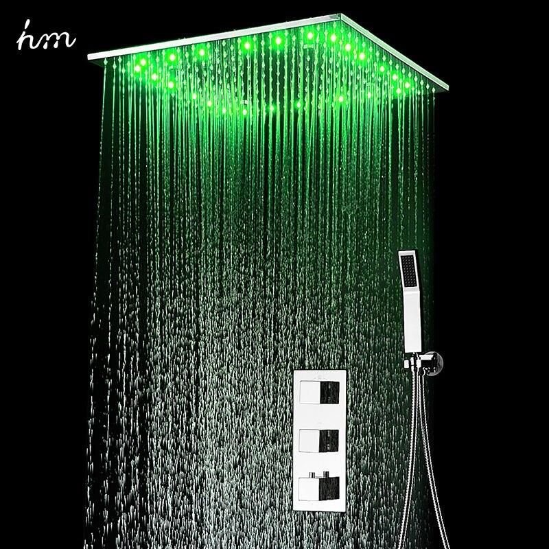 """Conjunto de ducha termostática oculta SUS304 Panel acabado espejo con 20 """"techo empotrado LED ducha cabeza lluvia niebla SPA hm"""
