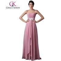 GK Free Shipping Elegant Women Chiffon Long Evening Dress Gown Sweetheart Pink WF6202