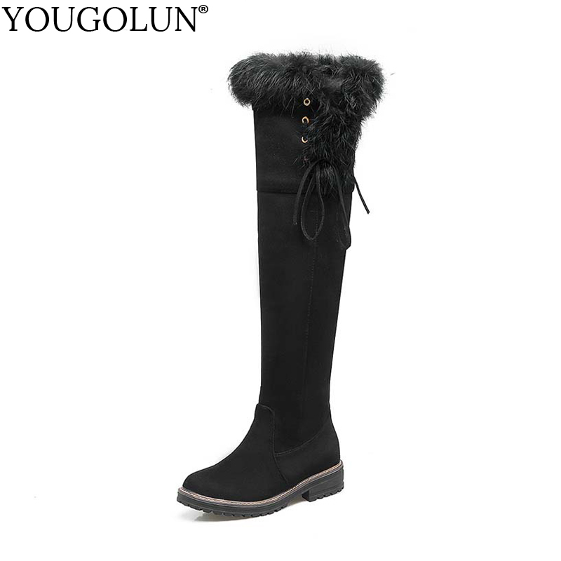 YOUGOLUN Women Snow Boots 2017 Winter Square Heel 3.5 cm Low Heels Warm Fur Long Plush Black Lace-up Thigh High Boots #Y-234