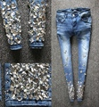 2016 European spring Diamond Crystal beading pencil jeans pants elastic light blue diamonds jeans