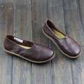 Hand-made Women Shoes Flat 100% Authentic Leather Upper Casual Slip on Ladies Flat Shoes Slip Resistance Rubber Sole (568-7)