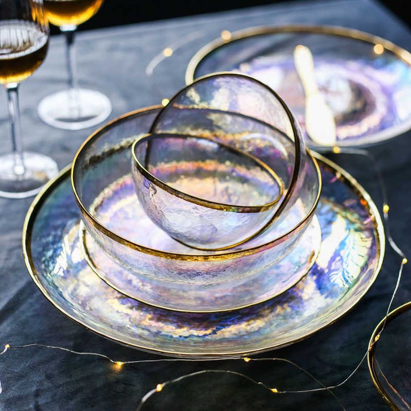Dazzle Colour Glass Dinnerware Set Golden Edge Steak Tray Soup Bowl Rainbow Salad Plate Ins Tableware Plated Glass Dinner Plate