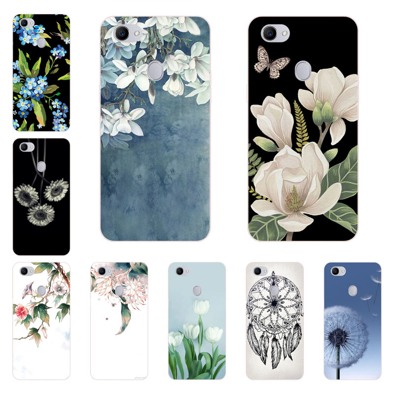 for oppo F7 Case,Silicon White Floral Painting Soft TPU Back Cover for oppo F7 Phone protect Bags shell