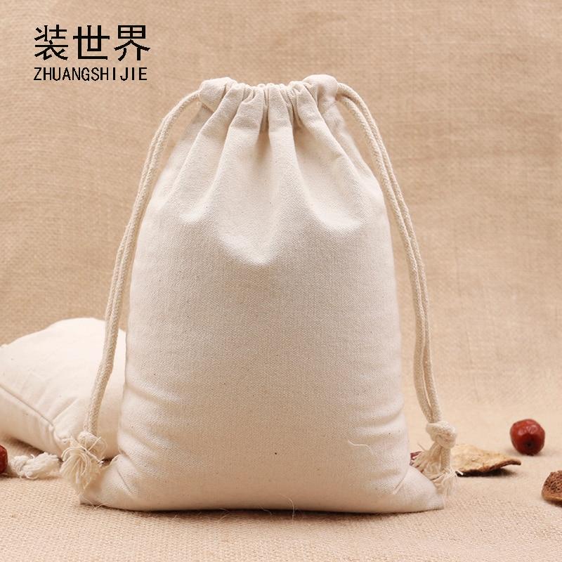 2pcs/Lot 15*20cm Multi-purpose 260g Cotton Canvas Drawstring Bag Custom Logo Print Food Packing Bag
