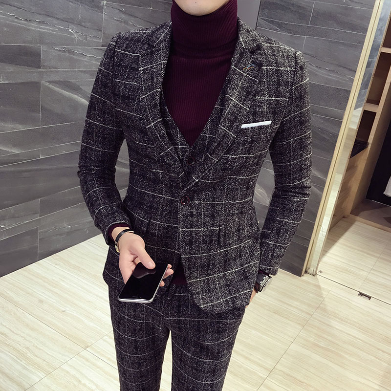 Hot Quality 3 Pieces 2019 Suits Men Blazers Pants Vest Sets Autumn Winter Slim Fit Plaid Wedding Men's Casual Business Suit 5XL