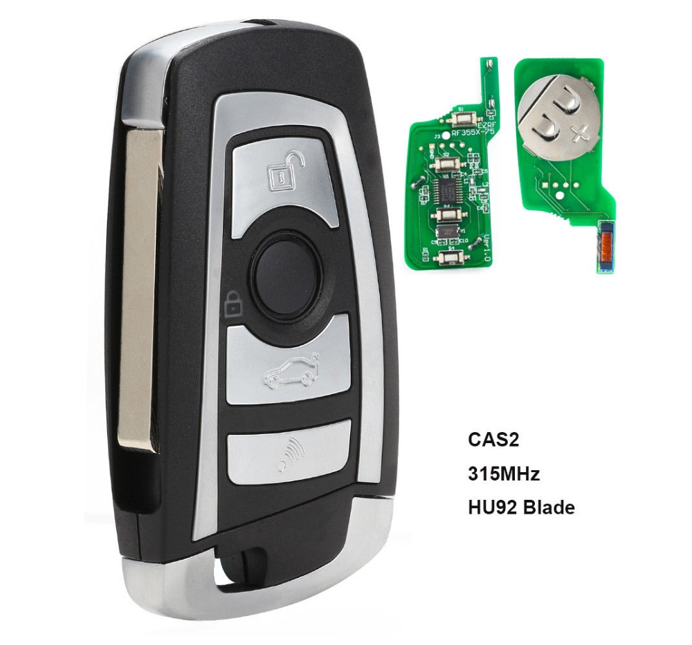 KEYECU CAS2 Modified Floding Remote Key 4 Button 315MHZ 433MHZ 868MHZ 315LP With PCF7946 Chip For BMW HU92 Blade