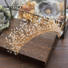 HIMSTORY Luxurious Handmade Beaded Hairband Princess Clear Shinny Crystal Bridal Headpiece Wedding Hair Accessories Jewelry