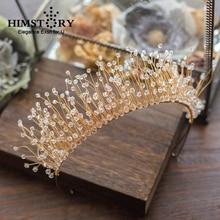 HIMSTORY Luxurious Handmade Beaded Hairband Princess Clear Shinny Crystal Bridal Headpiece Wedding Hair Accessories Hair Jewelry