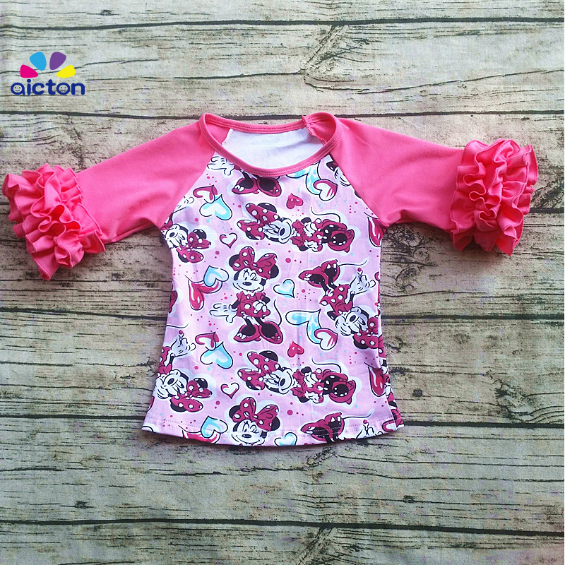 Yiying baby girls ruffle icing raglan clothing shirts children wear toddler mickey print raglan Tshirt