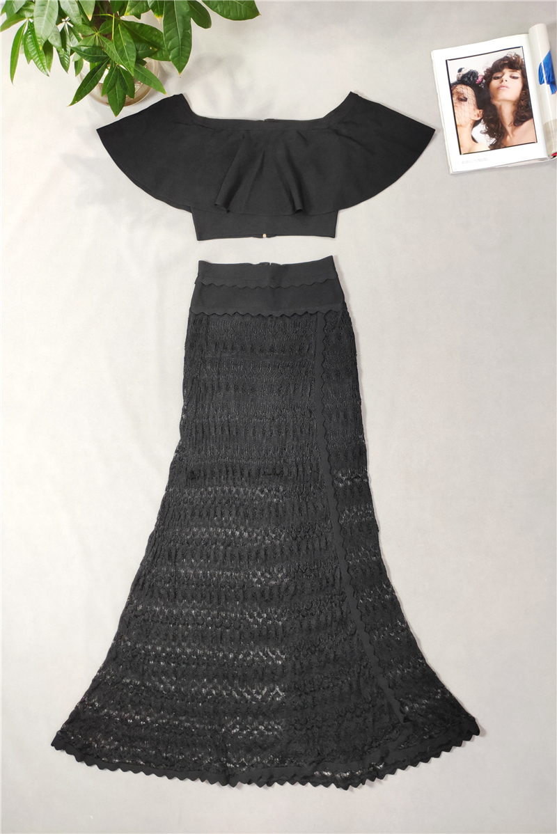 Mode Nova Lady Party porter blanc noir hors de l'épaule à volants court recadrée Top Maxi Bandage deux pièces longue robe ensembles femmes - 5