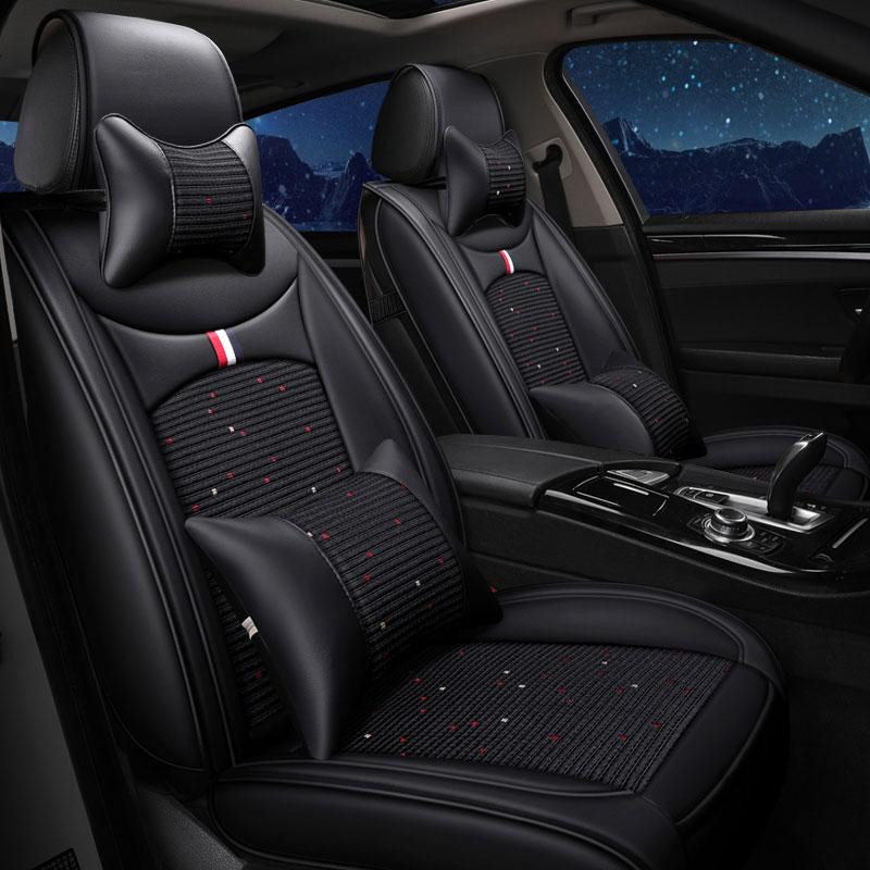(front rear ) leather car seat covers pad Universal automobile cushion for mazda cx 9 cx9 demio cargo familia premacy tribute