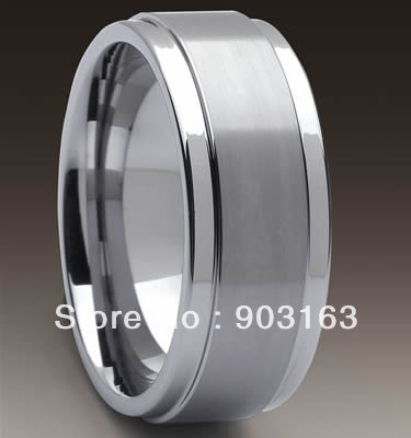 Wholesale best selling 1pcs Guaranteed 100% 9MM Tungsten middle Brushed Wedding Band Ring By EMS shipping