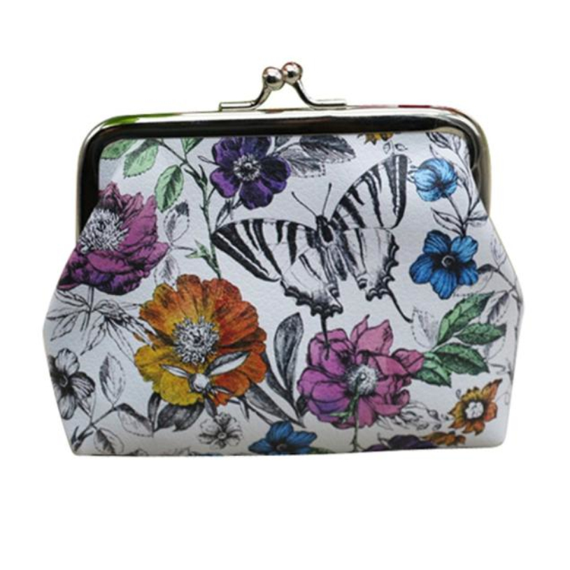 Brand new Cute Coin Purse Faux Leather Small Wallet women girls Floral printing Change Pocket Pouch Hasp Keys Bag